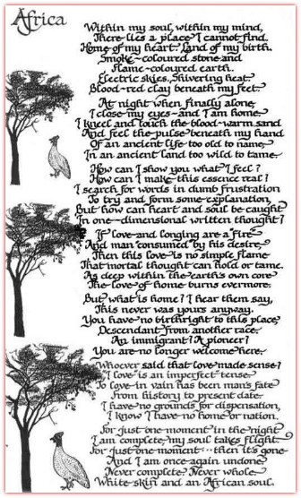 white skin african soul poem